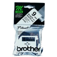 Brother labelprinter tape: 9 mm zwart op wit plastic tape, niet-gelamineerd, 8 m