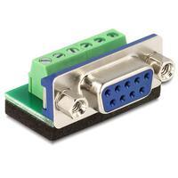 DeLOCK kabel adapter: Adapter Sub-D 9 pin female > Terminal block 6 pin - Zwart, Blauw, Groen, Zilver