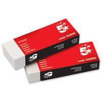 5Star gummen: Plastic Eraser Paper-sleeved 60x21x12mm (Pack 10) - Wit