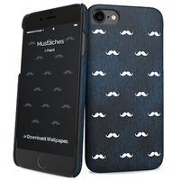 I-Paint mobile phone case: Mustaches - Zwart, Blauw, Wit
