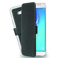 Azuri mobile phone case: wallet case with transparant backcover and cardslots voor J7, zwart