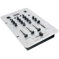 König dj mixer: 2-Channel DJ Mixer, 3 band equalizer, 2x 5 LED level meter - Zwart, Zilver