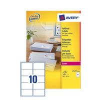 Avery A4, Laser/Inkjet, 1000 etiket, 99.1 x 57 mm Adreslabel - Wit