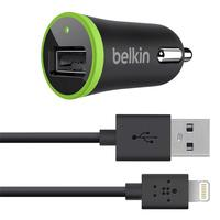 Belkin oplader: Car Charger with Lightning to USB Cable (10 Watt/2.1 Amp) - Zwart, Groen