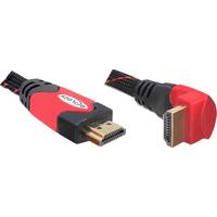 Delock - 1.4 High Speed HDMI kabel - eenzijdig haaks - 2 m - Zwart/Rood