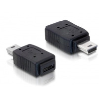DeLOCK kabel adapter: Adapter USB mini/USB micro-B - Zwart