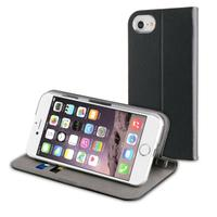 Muvit mobile phone case: Leather Black Folio Fit For Apple Iphone 7 - Zwart