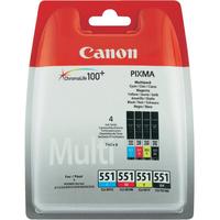 Canon inktcartridge: CLI-551 C/M/Y/BK w/sec - Zwart, Cyaan, Magenta, Geel