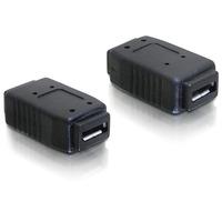 DeLOCK kabel adapter: Adapter USB micro-A+B female to USB micro-A+B female - Zwart