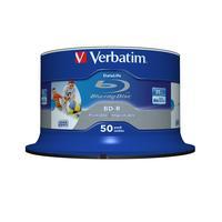 Verbatim BD: BD-R SL Datalife 25GB 6x Wide Inkjet Printable 50 Pack Spindle