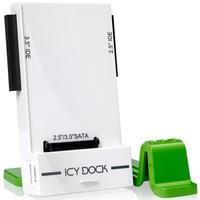 "Icy Dock behuizing: MB881U3-1SA, 2.5""/3.5"" SATA 1.5/3/6Gbps Hard Drive/SSD, USB 3.0, White/Green - Groen, Wit"