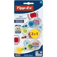 TIPP-EX correctieroller Mini Pocket Mouse Fashion, blister 2 + 1 gratis Film/tape correctie - Transparant