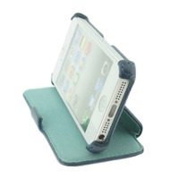 ROCK mobile phone case: Dancing Side Leather Flip Case iPhone 5, Blue & Green - Blauw, Groen
