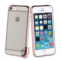 Muvit mobile phone case: Case with diamonds, Apple iPhone 5s/se, 40g, pink, transparent - Roze, Transparant