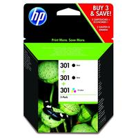 HP inktcartridge: 301 Ink Cartridge 3-Pack - Zwart, Cyaan, Magenta, Geel