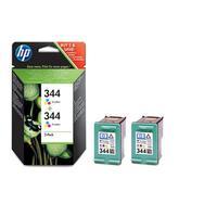 HP inktcartridge: 344 originele drie-kleuren inktcartridges, 2-pack - Cyaan, Magenta, Geel