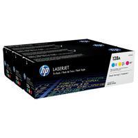 HP cartridge: 128A - Cyan/Magenta/Yellow Tri-pack LaserJet Toner Cartridges + zwarte LaserJet tonercartridge - Cyaan, .....