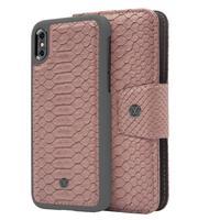Marvelle mobile phone case: N°301 Ash Pink ReptileGun Metal, iPhone X/XS - Grijs, Roze
