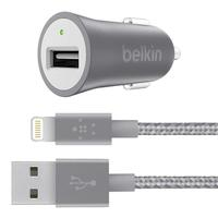 Belkin oplader: USB-A, USB-A to Lightening Cable, Gray - Grijs, Wit