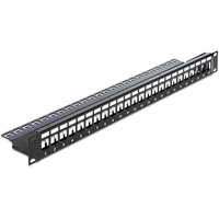 DeLOCK patch panel: 19″ Keystone Patch Panel 24 Port with strain relief - Zwart
