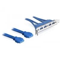 DeLOCK USB kabel: 2 x USB 3.0 19-pin - 4 x USB 3.0-A - Blauw