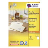 Avery LR3478 - Recycled Universele Etiketten, 210 x 297 mm, 100 Etiketten (LR3478)