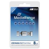 MediaRange USB flash drive: 8GB USB Mobile 2 in 1 OTG - Zilver