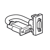 Legrand Mosaic HD15 connector met HD15 stekkerbare VGA-aansluiting aan achterzijde. 1 module aluminium, snoer .....