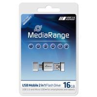 MediaRange USB flash drive: 16GB USB Mobile 2 in 1 OTG - Zilver