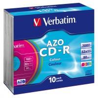 Verbatim 43308 CD-R AZO Colours Schijven - 10 Stuks / Slimcase