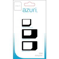 Azuri SIM/flash memory card adapter: Simcard adaptor 3 in 1 (SIM - MICROSIM - NANOSIM) - Zwart