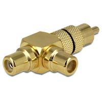 DeLOCK kabel adapter: Adapter RCA male > 2 x RCA female - Zwart, Goud