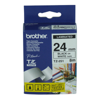Brother labelprinter tape: P-Touch Tape Black on White 24 mm - Zwart