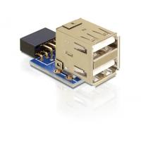 DeLOCK kabel adapter: 1 x 9-pin 2.54 mm/2 x USB 2.0-A - Zwart, Blauw, Zilver