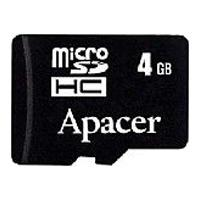 Apacer flashgeheugen: 4GB microSDHC Card - Zwart
