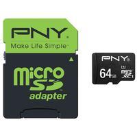 PNY flashgeheugen: 64GB High Performance MicroSDXC 80MB/s - Zwart, Groen