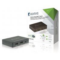 König , HDMI Schakelaar 2x HDMI-Ingang - HDMI-Uitgang (Donkergrijs) Hardware