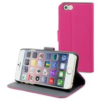 Muvit mobile phone case: Wallet folio stand case for Apple iPhone 6 Plus, 3 Card Slots, Pink - Roze