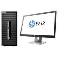HP pc: ProDesk DESKTOP BUNDEL (P5K00EA+M1N98AT) ProDesk 400 MT Intel Core i5-6500 + E232 monitor - Zwart