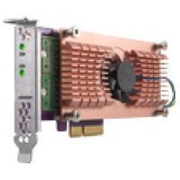 QNAP interfaceadapter: Dual M.2 22110/2280 SATA SSD, PCIe Gen2 x 4, Low Profile - Zwart, Bruin, Roestvrijstaal