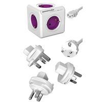 Allocacoc stekkerdoos: PowerCube ReWirable USB - Paars, Wit