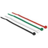 DeLOCK kabelbinder: Kabelbinder 100 mm farbig, 200 Stk. [50x Weiß, 50x Schwarz, 50x Grün, 50x Rot] - Zwart, Groen, .....