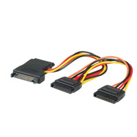 Secomp Internal Y-Power Cable, SATA to 3x, SATA - Zwart