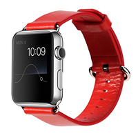 ROCK : Genuine Leather Watchband, f / Apple Watch 38mm, Red - Rood