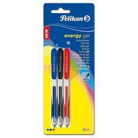 Pelikan gelpen: Energy Gel pen Blister assort - Zwart, Blauw, Rood, Transparant
