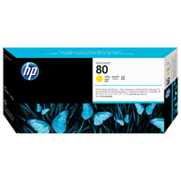 HP printkop: 80 gele DesignJet printkop en printkopreiniger - Geel