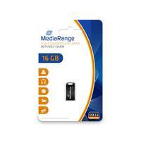 MediaRange USB flash drive: 16GB, USB 2.0, 5.0g - Zwart