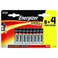 Energizer batterij: Batterijen MAX Alkaline AAA 8+4 - Zwart, Zilver