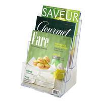 Deflecto Multi-Compartment Tiered Literature Holder Magazine Size bureaulade - Transparant