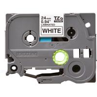 Brother labelprinter tape: 24 mm zwart op witte tape gelamineerd (8 m)